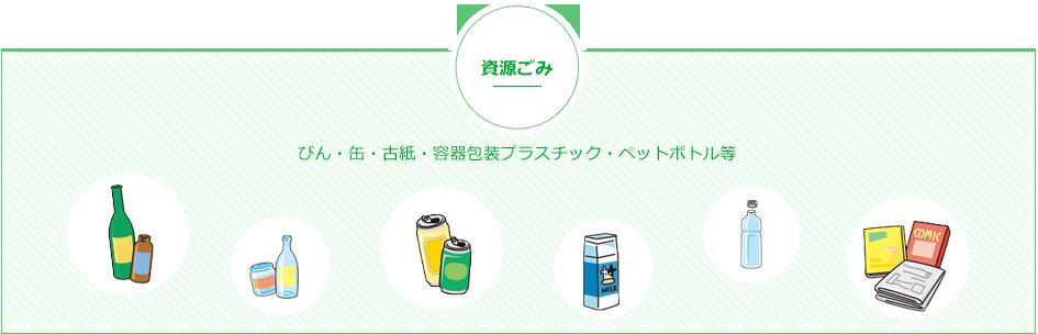資源ごみ ビン・缶・古紙・容器包装プラスチック・ペットボトル等